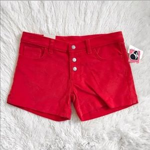 Hurley Corduroy Hip Hugger Shorts Red Size 1
